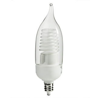 Dimmable - 5 Watt - Flame Tip CCFL - 30 W Equal - 2850K Warm White - 82 CRI - 40 Lumens per Watt - 25,000 Life Hours - 24 Month Warranty - Candelabra Base - Litetronics MicroBrite MB-547DP Dimmable CFL CCFL Bulb
