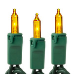 Yellow - 120 Volt - 50 Bulbs - Length 25 ft. - Bulb Spacing 6 in. - Green Wire - Christmas Mini Light String - HLS 6-50-YEL-G