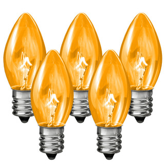 (25 Bulbs) C7 - Transparent Amber - 7 Watt - Candelabra Ba