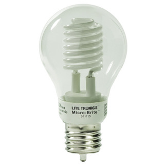 Dimmable - 5 Watt - A-Shape CCFL - 30 W Equal - 2850K Halogen White - Min. Start Temp. 0 Deg. F - 82 CRI - 25,000 Life Hours - 24 Month Warranty - Litetronics MicroBrite MB-500DP Dimmable CFL CCFL Bulb