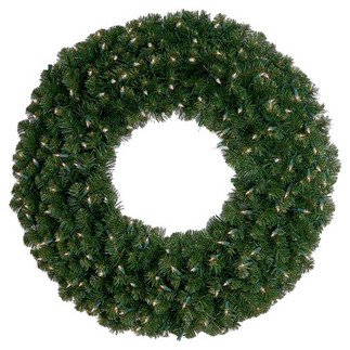 Warm White - 120 Volt - Pre-Lit LED - Deluxe Oregon Fir Christmas Wreath - 35 Lights - 24 in. - HLS LEDWREATH-24-OR Pre-lit Wreath