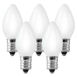 (25 Bulbs) C7 - White Opaque - 5 Watt - Candelabra Base - Christmas Lights - HLS C7OWHT Replacement Light Bulbs
