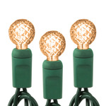 Champagne - 120 Volt - 35 LED Bulbs - G12 Shape - Length 12 ft. - Bulb Spacing 4 in. - Green Wire - Faceted Berry Christmas Light String - HLS 344166