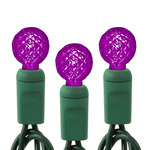 Purple - 120 Volt - 35 LED Bulbs - G12 Shape - Length 12 ft. - Bulb Spacing 4 in. - Green Wire - Faceted Berry Christmas Light String - HLS 34412