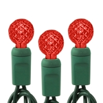 Red - 120 Volt - 35 LED Bulbs - G12 Shape - Length 12 ft. - Bulb Spacing 4 in. - Green Wire - Faceted Berry Christmas Light String - HLS 34402