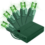 Green - Battery Powered - 20 LED Bulbs - Wide Angle Lens - Length 11.17 ft. - Bulb Spacing 6 in. - Green Wire - Christmas Mini Light String - HLS 45214BA