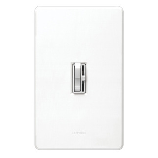 Lutron Ariadni AY-600P-WH - Single Pole - Incandescent Dimmer - Toggle and Slide Switch - 600 Watt - White