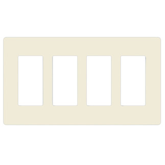 Lutron CW-4-LA - Claro Four-Gang Wallplate - Light Almond