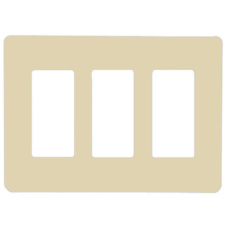 Lutron CW-3-IV - Claro Three-Gang Wallplate - Ivory