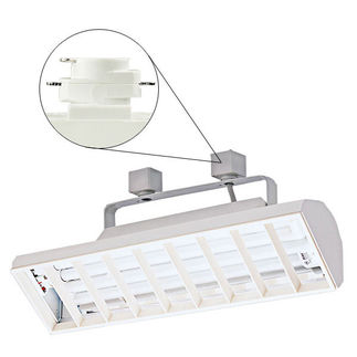 Nora NTF-3239W - White - Chrome Louver - Operates (2) 39 Watt F39 Biax Lamps - Compatible with Halo Track - Built-In Electronic Ballast