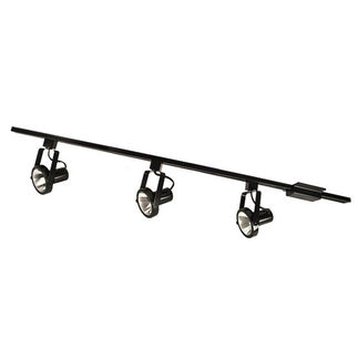 Nora NTL-158B - Black - 4 ft. Track Kit (3) Gimbal Ring Heads - For PAR30 Lamps - Single Circuit - 120 Volt - Ready For Installation