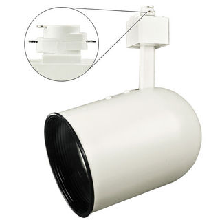 Nora NTH-106W - White - Round Back Cylinder with Black Baffle - Operates 75 Watt R/PAR30 - Compatible with Halo Track - 120 Volt
