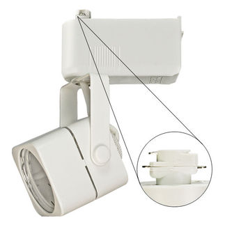 Nora NTL-202/75W - White - Cube Shaped Track Head - Operates 20-75 Watt MR16 - Compatible with Halo Track - Built-In 12 Volt Electronic Transformer