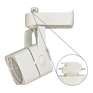 Nora NTL-202W - White - Cube Shaped Track Head - Operates 20-50 Watt MR16 - Compatible with Halo Track - Built-In 12 Volt Electronic Transformer
