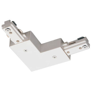 White - L-Connector - Single Circuit - Compatible with Halo Track - Nora Lighting NT-313W