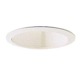 6 in. - White Stepped Baffle with Oversized Ring - Premium Quality Brand PTM41/OV - Light Fixture Accessory