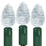 Pure White - 120 Volt - 25 LED Bulbs - Pine Cone Shape - Length 16.67 ft. - Bulb Spacing 8 in. - Green Wire - Christmas Light String - HLS 150313
