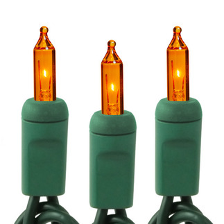 Amber-Orange - 120 Volt - 50 Bulbs - Length 10.6 ft. - Bulb Spacing 2.5 in. - Green Wire - Christmas Mini Light String - HLS 2.5-50-AMB-G