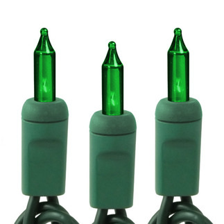 Green - 120 Volt - 50 Bulbs - Length 10.6 ft. - Bulb Spacing 2.5 in. - Green Wire - Christmas Mini Light String - HLS 2.5-50-GRN-G