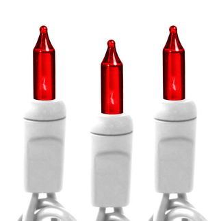 Red - 120 Volt - 50 Bulbs - Length 10.6 ft. - Bulb Spacing 2.5 in. - White Wire - Christmas Mini Light String - HLS 2.5-50-RED-W