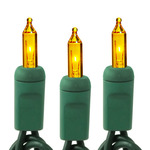 Yellow - 120 Volt - 100 Bulbs - Length 21 ft. - Bulb Spacing 2.5 in. - Green Wire - Christmas Mini Light String - HLS 2.5-100-YLW-G