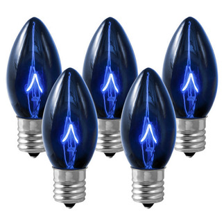 (25 Bulbs) C9 - Transparent Blue - Double Dipped - 7 Watt - Intermediate Base - Christmas Lights - HLS C97WBLU C9 7 Watt Christmas Replacement Light Bulbs