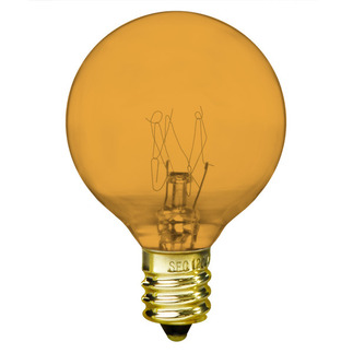10 Watt - G12 - Transparent Amber  - 1-1/2 in. Dia. - 130 Volt - 2,500 Life Hours - Amusement Light Bulb - Bulbrite 302010