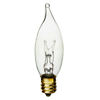 Xenon/Krypton - Clear - Bent Tip - 3,000 Life Hours - 250 Lumens - Candelabra Base - 120 Volt