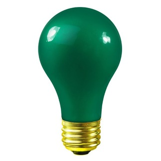 60 Watt - Green Ceramic Coated - A19 - 120 Volt - 2,500 Life Hours - Party Light Bulb - Bulbrite 106460