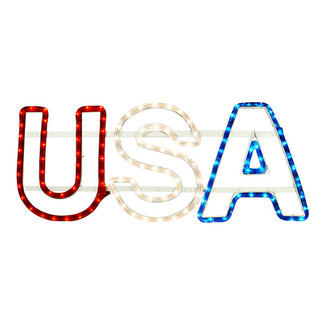 25 in. - Hanging Rope Light USA Decoration - 120 Volt - FlexTec FAU001 Patriotic Lit Decorations Red White Blue USA