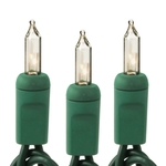 (100) Bulbs - Clear Mini Lights - Length 42.08 ft. - Bulb Spacing 5 in. - Green Wire - 120V