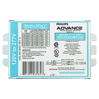 Advance Mark 7 IZT-2S26-M5-LD-35M - 120/277 Volt - Dimmable - Programmed Start - Ballast Factor 1.0 - Power Factor 99% - Min. Temp. Rating 50 Deg. F - Operates (1 or 2) 26 Watt Compact Fluorescent Lamps