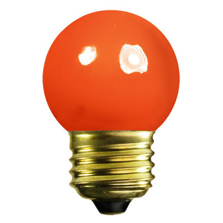 7.5 Watt - G12.5 - Opaque Orange - 1-1/2 in. Dia. - 130 Volt - 5,000 Life Hours - Amusement Light Bulb - PQB 203B7.5G12.5/FO