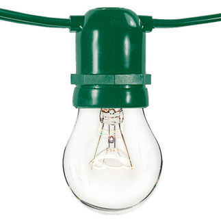 (24 Sockets) Green Wire - 120 Volt - Commercial Duty Patio Light Stringer - Medium Base Socket - 48 ft.