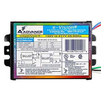 Advance IMH70DLFM - 70 Watt - Metal Halide Ballast - Pulse Start - 120/277 Volt - ANSI M98, M139 or M143 - Power Factor 90% - Max Temp Rating 85 deg C.