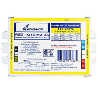 Advance Mark 10 REZ-1Q18-M2-BS - 120 Volt - Dimmable - Programmed Start - Ballast Factor 1.0 - Power Factor 99% - Min. Temp. Rating 50 Deg. F - Operates (1) Compact Fluorescent Lamp