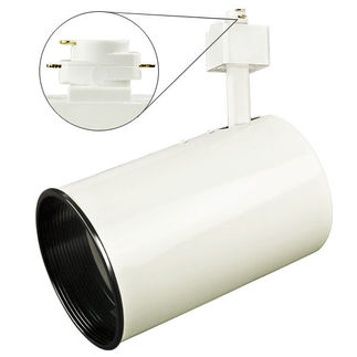 Nuvo TH202 - White - Flat Back Cylinder with Black Baffle - Operates 75 Watt R/PAR30 - Compatible with Halo Track - 120 Volt