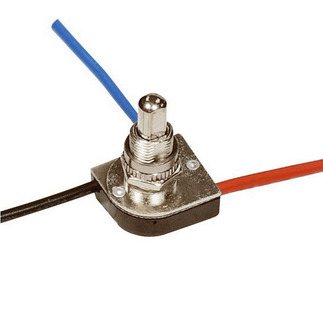 3-Way Push Switch - Nickel Finish 3/8 Bushing - Two Circuit - Satco 90-1679N