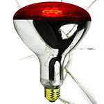 Shatter Resistant - 250 Watt - R40 - Red - Heat Lamp - 120 Volt - 5,000 Life Hours - Medium Base - Infrared Lamp Bulb - Satco S4884