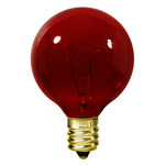 10 Watt - G12 - Transparent Red - 1-1/2 in. Dia. - 120 Volt - 1,500 Life Hours - Amusement Light Bulb - Candelabra Base - Satco S3833