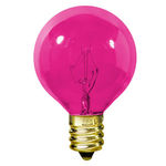 10 Watt - G12 - Transparent Pink - 1-1/2 in. Dia. - 120 Volt - 1,500 Life Hours - Amusement Light Bulb - Candelabra Base - Satco S3837