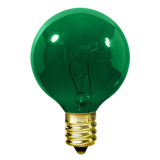 10 Watt - G12 - Transparent Green - 1-1/2 in. Dia. - 120 Volt - 1,500 Life Hours - Amusement Light Bulb - Candelabra Base - Satco S3835