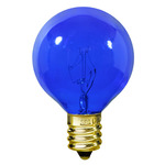 10 Watt - G12 - Transparent Blue - 1-1/2 in. Dia. - 120 Volt - 1,500 Life Hours - Amusement Light Bulb - Candelabra Base - Satco S3834