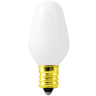 7 Watt - C7 - White Coated - 120 Volt - 3,000 Life Hours - Candelabra Base - Incandescent Light Bulb - Satco S3692 C7 Sign Bulb