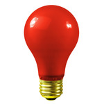 25 Watt - Red Ceramic Coated - A19 - 130 Volt - 1,000 Life Hours - Party Light Bulb - Satco S6090