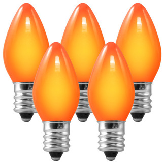 C7 - Opaque Amber-Orange - 5 Watt - Candelabra Base - Christmas Lights - 25 Pack