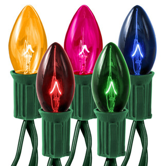 Transparent Multi-Color - 25 Bulbs - C7 Shape - Length 25 ft. - Bulb Spacing 12 in. - Green Wire - Christmas Light String