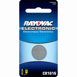 Lithium Coin Battery - 3 Volt - For Keyless Entry and Remote Controls - CR1616 Size - Rayovac KECR1616-1
