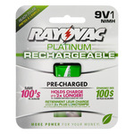 Rechargeable NiMH Battery - 9V Size - 9 Volt - Platinum Series - Rayovac PL1604-1