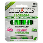 Rechargeable NiMH Battery - D Size - Platinum Series - Rayovac PL713-2